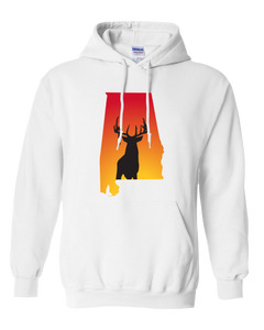 Pullover Hooded Sweatshirt Alabama White Whitetail Deer Vibrant Design High Quality Tight Knit Ring Spun Low Maintenance Cotton Printed With The Newest Available Color Transfer Technology
