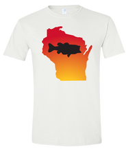 Load image into Gallery viewer, Short Sleeve T-Shirt Wisconsin White Large Mouth Bass Vibrant Design High Quality Tight Knit Ring Spun Low Maintenance Cotton Printed With The Newest Available Color Transfer Technology