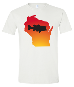 Short Sleeve T-Shirt Wisconsin White Large Mouth Bass Vibrant Design High Quality Tight Knit Ring Spun Low Maintenance Cotton Printed With The Newest Available Color Transfer Technology