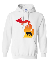 Load image into Gallery viewer, Pullover Hooded Sweatshirt Michigan White Black Bear Vibrant Design High Quality Tight Knit Ring Spun Low Maintenance Cotton Printed With The Newest Available Color Transfer Technology