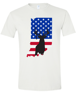 Short Sleeve T-Shirt Indiana White Whitetail Deer Vibrant Design High Quality Tight Knit Ring Spun Low Maintenance Cotton Printed With The Newest Available Color Transfer Technology