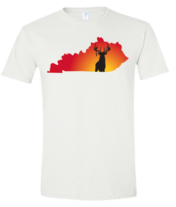 Short Sleeve T-Shirt Kentucky White Whitetail Deer Vibrant Design High Quality Tight Knit Ring Spun Low Maintenance Cotton Printed With The Newest Available Color Transfer Technology
