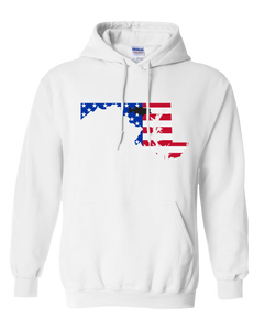 Pullover Hooded Sweatshirt Maryland White Large Mouth Bass Vibrant Design High Quality Tight Knit Ring Spun Low Maintenance Cotton Printed With The Newest Available Color Transfer Technology
