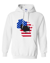 Load image into Gallery viewer, Pullover Hooded Sweatshirt Wisconsin White Turkey Vibrant Design High Quality Tight Knit Ring Spun Low Maintenance Cotton Printed With The Newest Available Color Transfer Technology