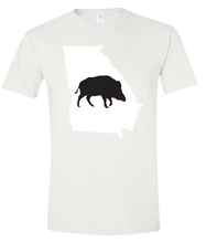 Load image into Gallery viewer, Short Sleeve T-Shirt Georgia White Wild Hog Vibrant Design High Quality Tight Knit Ring Spun Low Maintenance Cotton Printed With The Newest Available Color Transfer Technology