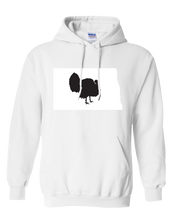 Load image into Gallery viewer, Pullover Hooded Sweatshirt North Dakota White Turkey Vibrant Design High Quality Tight Knit Ring Spun Low Maintenance Cotton Printed With The Newest Available Color Transfer Technology