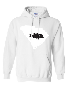 Pullover Hooded Sweatshirt South Carolina White Large Mouth Bass Vibrant Design High Quality Tight Knit Ring Spun Low Maintenance Cotton Printed With The Newest Available Color Transfer Technology