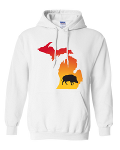 Pullover Hooded Sweatshirt Michigan White Wild Hog Vibrant Design High Quality Tight Knit Ring Spun Low Maintenance Cotton Printed With The Newest Available Color Transfer Technology