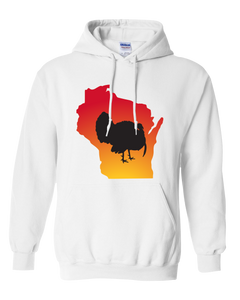 Pullover Hooded Sweatshirt Wisconsin White Turkey Vibrant Design High Quality Tight Knit Ring Spun Low Maintenance Cotton Printed With The Newest Available Color Transfer Technology