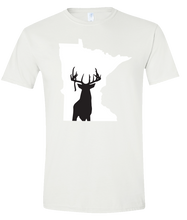 Load image into Gallery viewer, Short Sleeve T-Shirt Minnesota White Whitetail Deer Vibrant Design High Quality Tight Knit Ring Spun Low Maintenance Cotton Printed With The Newest Available Color Transfer Technology