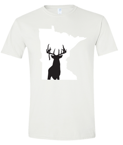 Short Sleeve T-Shirt Minnesota White Whitetail Deer Vibrant Design High Quality Tight Knit Ring Spun Low Maintenance Cotton Printed With The Newest Available Color Transfer Technology