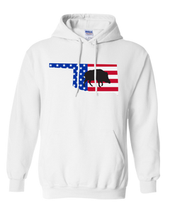 Pullover Hooded Sweatshirt Oklahoma White Wild Hog Vibrant Design High Quality Tight Knit Ring Spun Low Maintenance Cotton Printed With The Newest Available Color Transfer Technology