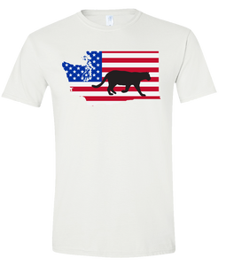 Short Sleeve T-Shirt Washington White Mountain Lion Vibrant Design High Quality Tight Knit Ring Spun Low Maintenance Cotton Printed With The Newest Available Color Transfer Technology