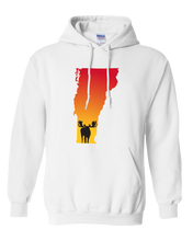 Load image into Gallery viewer, Pullover Hooded Sweatshirt Vermont White Moose Vibrant Design High Quality Tight Knit Ring Spun Low Maintenance Cotton Printed With The Newest Available Color Transfer Technology