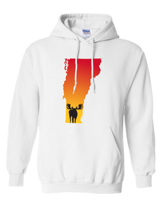 Pullover Hooded Sweatshirt Vermont White Moose Vibrant Design High Quality Tight Knit Ring Spun Low Maintenance Cotton Printed With The Newest Available Color Transfer Technology