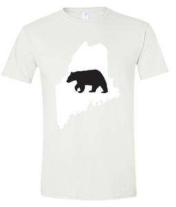 Short Sleeve T-Shirt Maine White Black Bear Vibrant Design High Quality Tight Knit Ring Spun Low Maintenance Cotton Printed With The Newest Available Color Transfer Technology