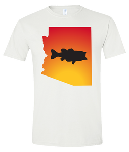 Short Sleeve T-Shirt Arizona White Large Mouth Bass Vibrant Design High Quality Tight Knit Ring Spun Low Maintenance Cotton Printed With The Newest Available Color Transfer Technology