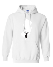 Load image into Gallery viewer, Pullover Hooded Sweatshirt New Jersey White Whitetail Deer Vibrant Design High Quality Tight Knit Ring Spun Low Maintenance Cotton Printed With The Newest Available Color Transfer Technology