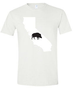 Short Sleeve T-Shirt California White Wild Hog Vibrant Design High Quality Tight Knit Ring Spun Low Maintenance Cotton Printed With The Newest Available Color Transfer Technology