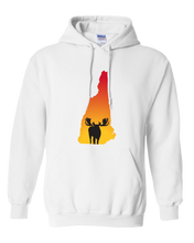 Load image into Gallery viewer, Pullover Hooded Sweatshirt New Hampshire White Moose Vibrant Design High Quality Tight Knit Ring Spun Low Maintenance Cotton Printed With The Newest Available Color Transfer Technology