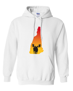 Pullover Hooded Sweatshirt New Hampshire White Moose Vibrant Design High Quality Tight Knit Ring Spun Low Maintenance Cotton Printed With The Newest Available Color Transfer Technology