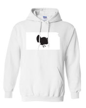 Load image into Gallery viewer, Pullover Hooded Sweatshirt Kansas White Turkey Vibrant Design High Quality Tight Knit Ring Spun Low Maintenance Cotton Printed With The Newest Available Color Transfer Technology