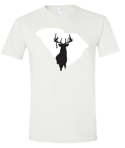 Short Sleeve T-Shirt South Carolina White Whitetail Deer Vibrant Design High Quality Tight Knit Ring Spun Low Maintenance Cotton Printed With The Newest Available Color Transfer Technology