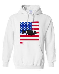 Pullover Hooded Sweatshirt New Mexico White Large Mouth Bass Vibrant Design High Quality Tight Knit Ring Spun Low Maintenance Cotton Printed With The Newest Available Color Transfer Technology