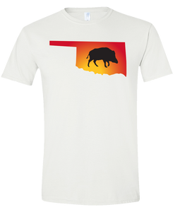 Short Sleeve T-Shirt Oklahoma White Wild Hog Vibrant Design High Quality Tight Knit Ring Spun Low Maintenance Cotton Printed With The Newest Available Color Transfer Technology