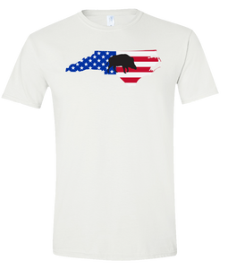 Short Sleeve T-Shirt North Carolina White Wild Hog Vibrant Design High Quality Tight Knit Ring Spun Low Maintenance Cotton Printed With The Newest Available Color Transfer Technology