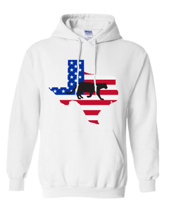 Pullover Hooded Sweatshirt Texas White Mountain Lion Vibrant Design High Quality Tight Knit Ring Spun Low Maintenance Cotton Printed With The Newest Available Color Transfer Technology