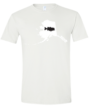 Load image into Gallery viewer, Short Sleeve T-Shirt Alaska White Large Mouth Bass Vibrant Design High Quality Tight Knit Ring Spun Low Maintenance Cotton Printed With The Newest Available Color Transfer Technology