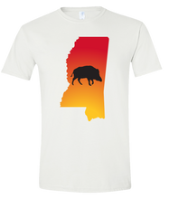 Load image into Gallery viewer, Short Sleeve T-Shirt Mississippi White Wild Hog Vibrant Design High Quality Tight Knit Ring Spun Low Maintenance Cotton Printed With The Newest Available Color Transfer Technology