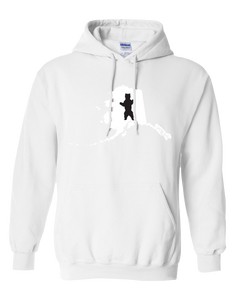 Pullover Hooded Sweatshirt Alaska White Brown Bear Vibrant Design High Quality Tight Knit Ring Spun Low Maintenance Cotton Printed With The Newest Available Color Transfer Technology