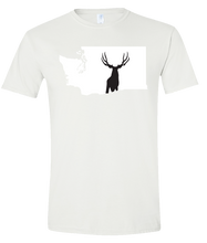 Load image into Gallery viewer, Short Sleeve T-Shirt Washington White Mule Deer Vibrant Design High Quality Tight Knit Ring Spun Low Maintenance Cotton Printed With The Newest Available Color Transfer Technology