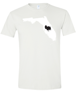 Short Sleeve T-Shirt Florida White Turkey Vibrant Design High Quality Tight Knit Ring Spun Low Maintenance Cotton Printed With The Newest Available Color Transfer Technology