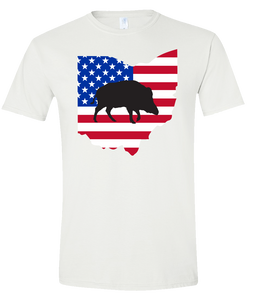 Short Sleeve T-Shirt Ohio White Wild Hog Vibrant Design High Quality Tight Knit Ring Spun Low Maintenance Cotton Printed With The Newest Available Color Transfer Technology