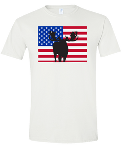 Short Sleeve T-Shirt Colorado White Moose Vibrant Design High Quality Tight Knit Ring Spun Low Maintenance Cotton Printed With The Newest Available Color Transfer Technology