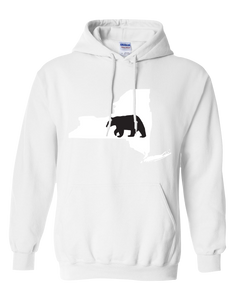 Pullover Hooded Sweatshirt New York White Black Bear Vibrant Design High Quality Tight Knit Ring Spun Low Maintenance Cotton Printed With The Newest Available Color Transfer Technology