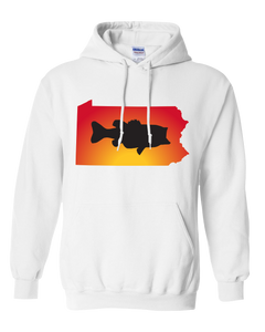 Pullover Hooded Sweatshirt Pennsylvania White Large Mouth Bass Vibrant Design High Quality Tight Knit Ring Spun Low Maintenance Cotton Printed With The Newest Available Color Transfer Technology