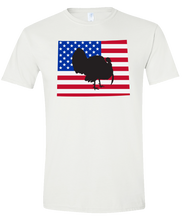 Load image into Gallery viewer, Short Sleeve T-Shirt Wyoming White Turkey Vibrant Design High Quality Tight Knit Ring Spun Low Maintenance Cotton Printed With The Newest Available Color Transfer Technology