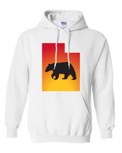 Load image into Gallery viewer, Pullover Hooded Sweatshirt Utah White Black Bear Vibrant Design High Quality Tight Knit Ring Spun Low Maintenance Cotton Printed With The Newest Available Color Transfer Technology