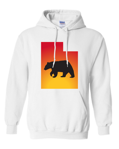 Pullover Hooded Sweatshirt Utah White Black Bear Vibrant Design High Quality Tight Knit Ring Spun Low Maintenance Cotton Printed With The Newest Available Color Transfer Technology