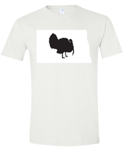 Load image into Gallery viewer, Short Sleeve T-Shirt North Dakota White Turkey Vibrant Design High Quality Tight Knit Ring Spun Low Maintenance Cotton Printed With The Newest Available Color Transfer Technology