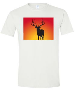 Short Sleeve T-Shirt Colorado White Elk Vibrant Design High Quality Tight Knit Ring Spun Low Maintenance Cotton Printed With The Newest Available Color Transfer Technology