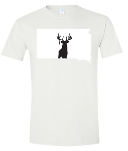 Short Sleeve T-Shirt South Dakota White Whitetail Deer Vibrant Design High Quality Tight Knit Ring Spun Low Maintenance Cotton Printed With The Newest Available Color Transfer Technology