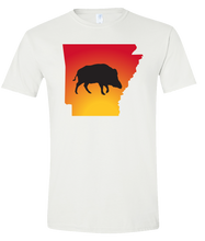 Load image into Gallery viewer, Short Sleeve T-Shirt Arkansas White Wild Hog Vibrant Design High Quality Tight Knit Ring Spun Low Maintenance Cotton Printed With The Newest Available Color Transfer Technology