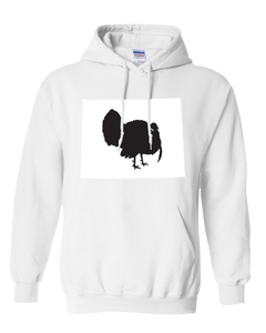 Pullover Hooded Sweatshirt Wyoming White Turkey Vibrant Design High Quality Tight Knit Ring Spun Low Maintenance Cotton Printed With The Newest Available Color Transfer Technology