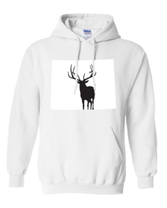 Pullover Hooded Sweatshirt Wyoming White Elk Vibrant Design High Quality Tight Knit Ring Spun Low Maintenance Cotton Printed With The Newest Available Color Transfer Technology