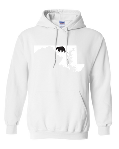 Pullover Hooded Sweatshirt Maryland White Black Bear Vibrant Design High Quality Tight Knit Ring Spun Low Maintenance Cotton Printed With The Newest Available Color Transfer Technology